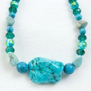 New Turquoise Gemstone Beaded Necklace